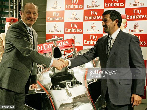 Ron Dennis , Team Principal of McLarren Mercedes and Chairman of the McLarren Group, and His Highness Sheikh Ahmed bin Saeed Al-Maktoum Chairman and...