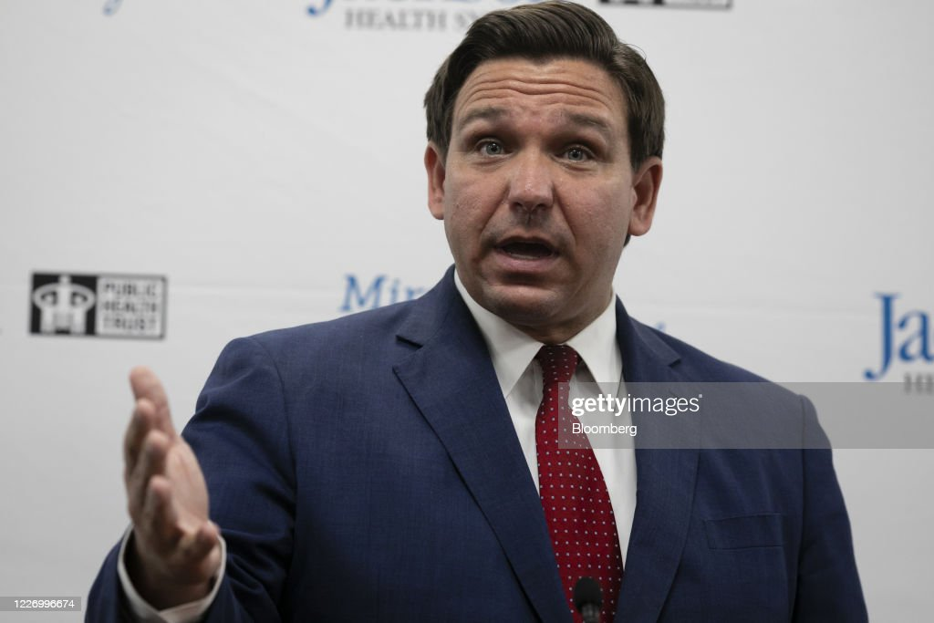 Governor DeSantis And Miami-Dade Mayor Gimenz Hold Press Conference At Jackson Memorial Hospital : News Photo
