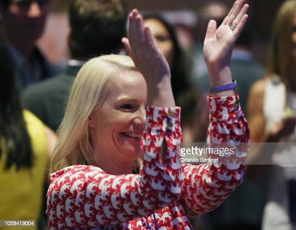 Ron DeSantis supporter Anna Upton of Tallahassee, Fla. Celebrates during a DeSantis election night party at the Rosen Centre in Orlando, Fla. On...