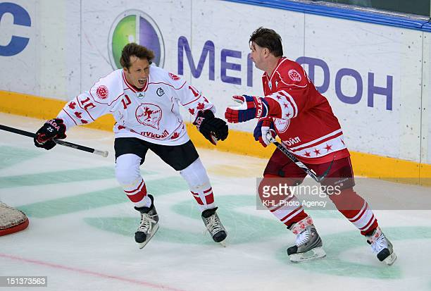 Ron Duguay of Canada and Alexei Kasatonov of USSR during the friendly match between Canada Team and USSR Team during the 40th anniversary of Summit...