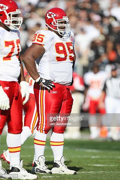 Ron Edwards of the Kansas City Chiefs stands on the field against the Oakland Raiders during an NFL game on November 30 2008 at the OaklandAlameda...