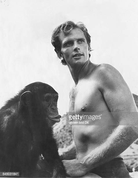 Ron Ely Actor USA Tarzan with chimpanzee for television series of the same title