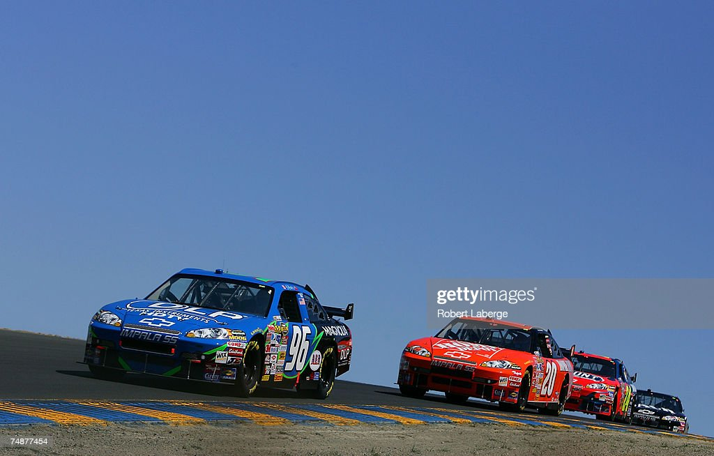 Ron Fellows, driver of the #96 DLP HDTV Chevrolet, leads Tony Stewart, driver of the #20 The Home Depot Chevrolet, during the NASCAR Nextel Cup Series Toyota/Save Mart 350 at Infineon Raceway on June 24, 2007 in Sonoma, California.