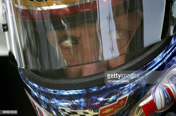 Ron Fellows driver of the Kevin Harvick Inc Chevrolet looks on during practice for the NASCAR Busch Series TelcelMotorola 200 on March 3 2006 at...