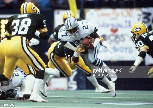 Ron Fellows of the Dallas Cowboys carries the ball in the NFC Divisional Playoff Game against the Green Bay Packers on January 16 l983 in Dallas Texas