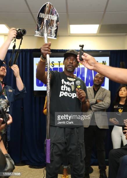 Ron Finley speaks at Destination Crenshaw Groundbreaking Event with over 2000 community residents including Emmy Nominated Actress and Writer Issa...