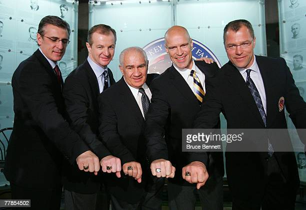 Ron Francis, Al MacInnis, Jim Gregory, Mark Messier and Scott Stevens show off their Hall of Fame rings at the Hockey Hall of Fame press conference...