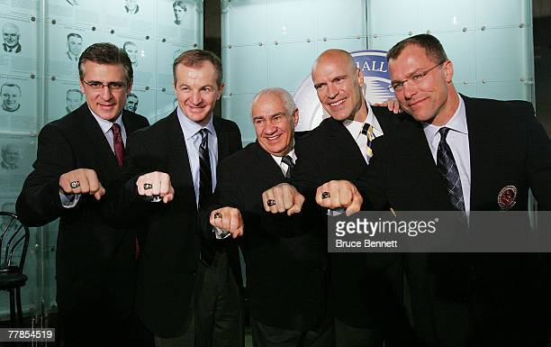 Ron Francis Al MacInnis Jim Gregory Mark Messier and Scott Stevens show off their Hall of Fame rings at the Hockey Hall of Fame press conference and...