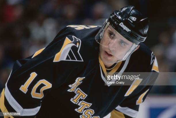 Ron Francis, Captain and Center for the Pittsburgh Penguins during the NHL Western Conference Pacific Division game against the Mighty Ducks of...