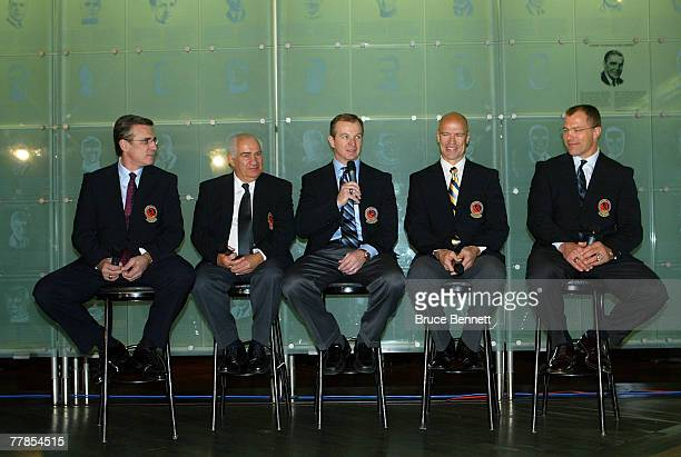 Ron Francis, Jim Gregory, Al MacInnis, Mark Messier and Scott Stevens answer media questions at the Hockey Hall of Fame press conference and photo...