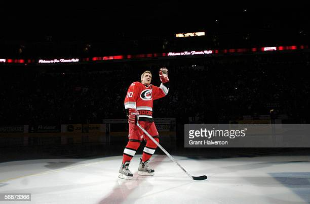 """Ron Francis of the Carolina Hurricanes skates his final lap during """"Ron Francis Night"""" before the game against the Atlanta Thrashers on January 28 at..."""