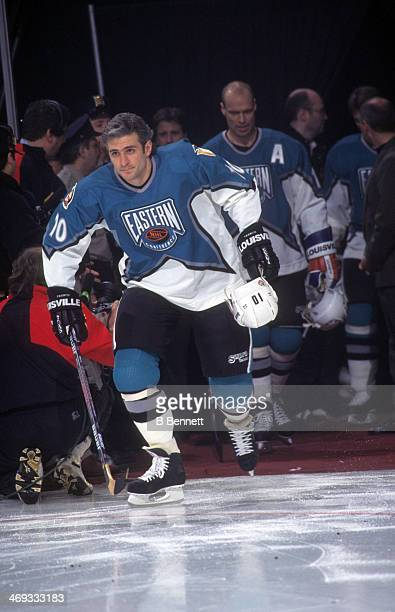 Ron Francis of the Eastern Conference and Pittsburgh Penguins is introduced before the 1996 46th NHL All-Star Game against the Western Conference on...
