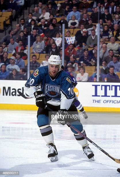 Ron Francis of the Eastern Conference and Pittsburgh Penguins skates with the puck during the 1996 46th NHL All-Star Game against the Western...