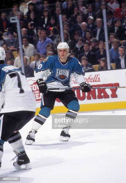 Ron Francis of the Eastern Conference and the Pittsburgh Penguins skates on the ice during the 1996 46th NHL All-Star Game against the Western...