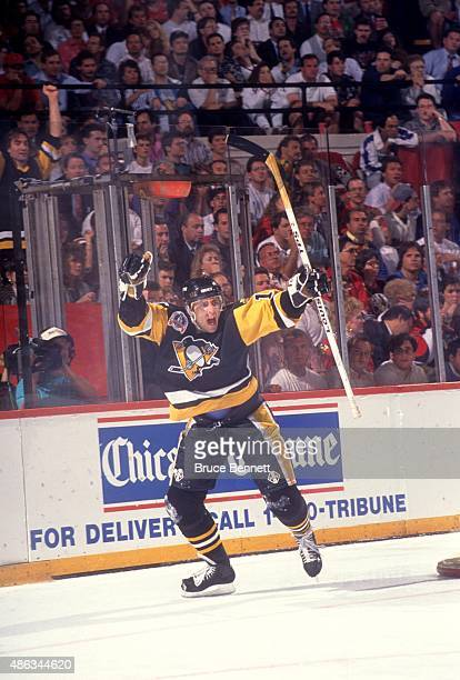 Ron Francis of the Pittsburgh Penguins celebrates after scoring the eventual game winning goal during Game 4 of the 1992 Stanley Cup Finals against...