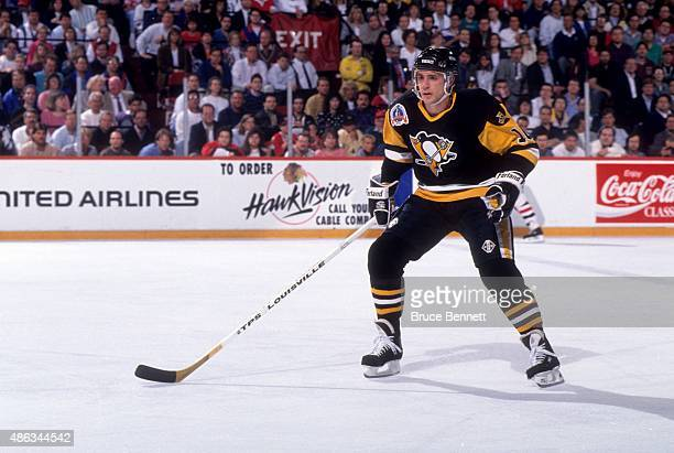 Ron Francis of the Pittsburgh Penguins skates on the ice during Game 3 of the 1992 Stanley Cup Finals against the Chicago Blackhawks on May 30 1992...