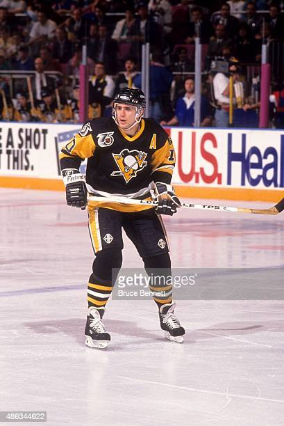 Ron Francis of the Pittsburgh Penguins skates on the ice during the 1992 Division Finals against the New York Rangers in May, 1992 at the Madison...
