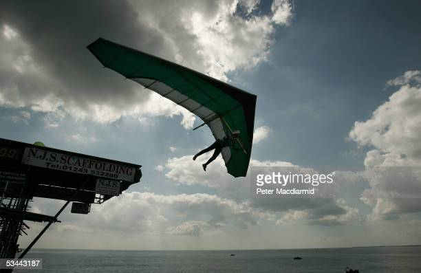 Ron Freeman makes a jump from the pier in the Birdman competition on August 20 2005 in Bognor Regis England The Birdman competition for human powered...
