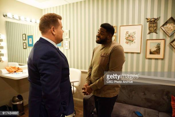 Ron Funches chats in the green room with James Corden during 'The Late Late Show with James Corden' Thursday February 8 2018 On The CBS Television...
