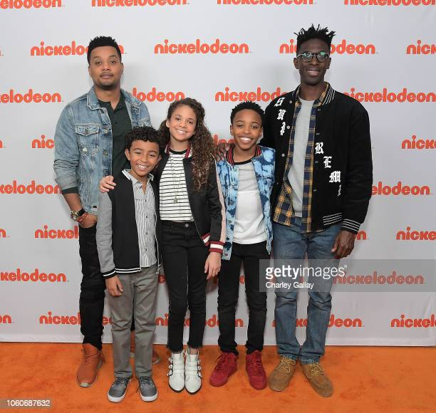 Ron G Micah Abbey Scarlet Spencer Dallas Young and Ishmel Sahid attend Nickelodeon' Holiday Party With Casts Of Cousins For Life And Henry Danger at...