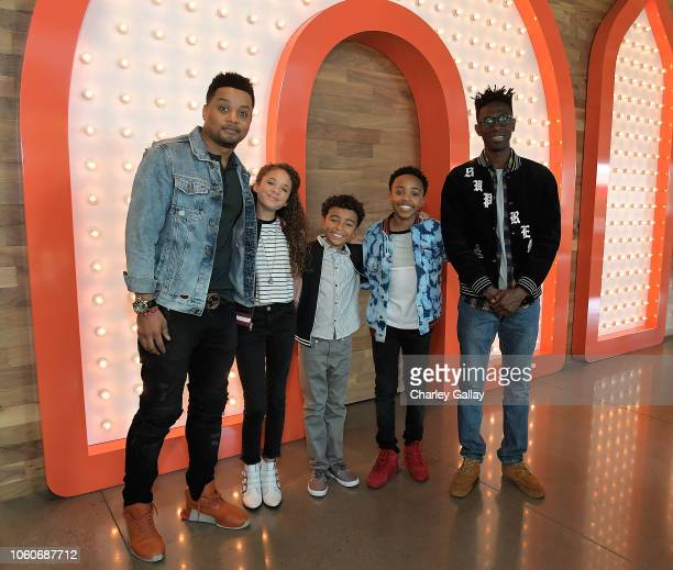 Ron G Scarlet Spencer Micah Abbey Dallas Young and Ishmel Sahid attend Nickelodeon' Holiday Party With Casts Of Cousins For Life And Henry Danger at...