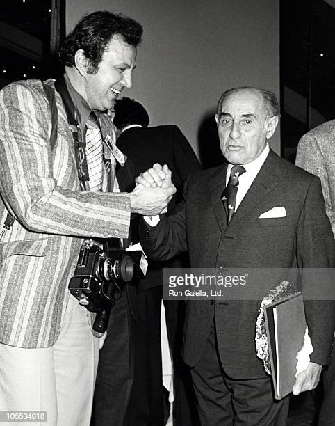 Ron Galella and Alfred Eisenstaedt during Alfred Eisenstaedt's 80th Birthday Party at New York New York Disco in New York City New York United States