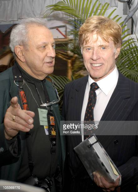Ron Galella and Robert Redford during Building the Future A Gala Evening Benefiting the Westport Country Playhouse at Hyatt Regency Greenwich in...