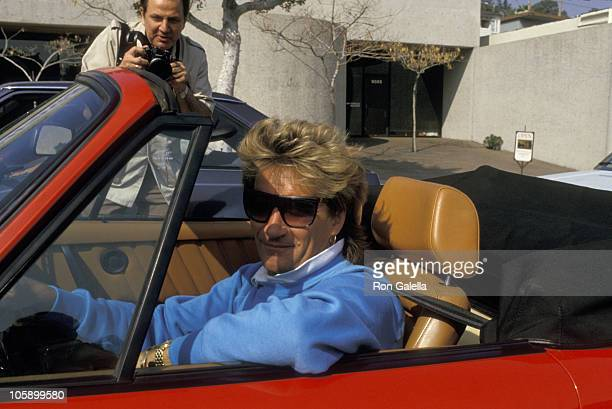Ron Galella and Rod Stewart during Ron Galella and Rod Stewart on Sunset Boulevard March 11 1987 at Sunset Boulevard in Hollywood California United...