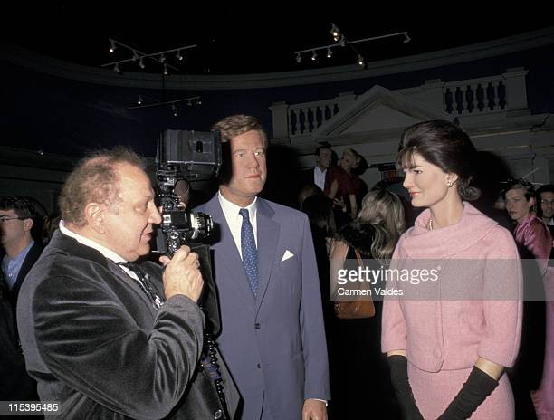 Ron Galella and wax replicas of John F Kennedy and Jackie Onassis