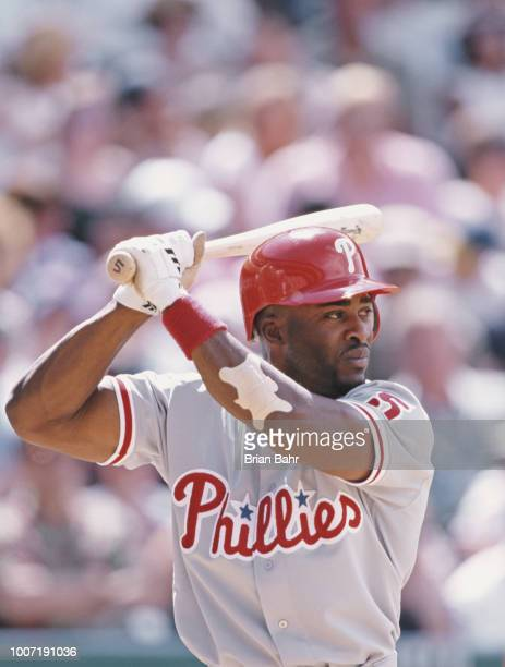 Ron Gant Leftfielder Second Baseman of the Philadelphia Phillies batting against the Colorado Rockies during their Major League Baseball National...
