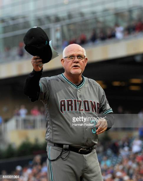 Ron Gardenhire of the Arizona Diamondbacks waves to fans before the game against the Minnesota Twins on August 18 2017 at Target Field in Minneapolis...