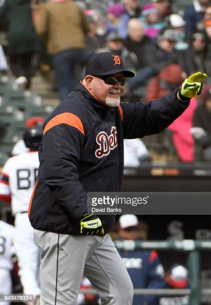 Ron Gardenhire of the Detroit Tigers makes a pitching change during the seventh inning on April 8 2018 at Guaranteed Rate Field in Chicago Illinois...