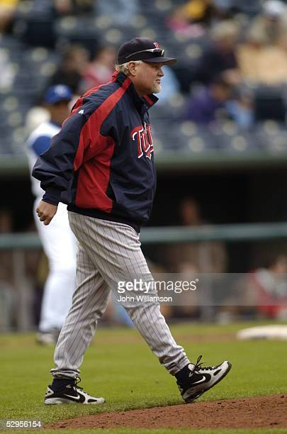 Ron Gardenhire of the Minnesota Twins is pictured during the game against the Kansas City Royals at Kauffman Stadium on April 28 2005 in Kansas City...