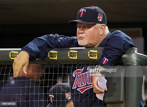 Ron Gardenhire of the Minnesota Twins looks on against the Los Angeles Angels during their MLB baseball game at Target Field on September 6 2014 in...