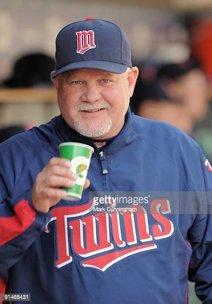 Ron Gardenhire of the Minnesota Twins looks on and smiles against the Detroit Tigers during the game at Comerica Park on October 1 2009 in Detroit...