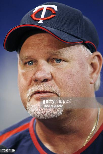 Ron Gardenhire of the Minnesota Twins talks to the media prior to a game against the Detroit Tigers at the Humphrey Metrodome in Minneapolis,...