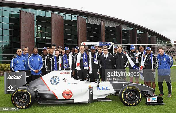 Ron Gourlay Chief Excutive of Chelsea FC with the Chelsea Team and staff Announce Sauber F1 Team Partnership at the club's Cobham training ground on...