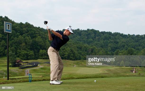 Ron Grube prepares to tee off on the first hole during the final round of the Nationwide Tour Players Cup at Pete Dye Golf Club on June 28, 2009 in...