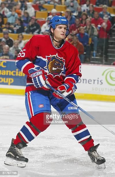 Ron Hainsey of the Hamilton Bulldogs skates against the Manitoba Moose at the Copps Coliseum on October 17 2004 in Hamilton Ontario Canada