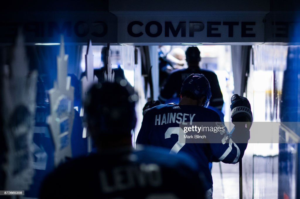 Ron Hainsey #2 of the Toronto Maple Leafs and his teammates take the ice for warm up before playing the Boston Bruins during at the Air Canada Centre on November 10, 2017 in Toronto, Ontario, Canada.