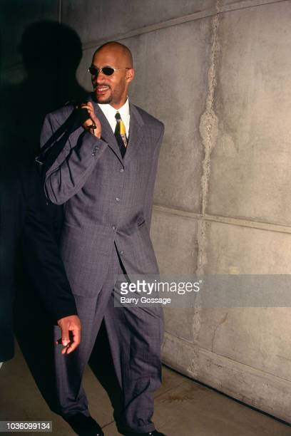 Ron Harper of Chicago Bulls arrives before the game against the Utah Jazz on June 6 1997 at the Delta Center in Salt Lake City UT NOTE TO USER User...