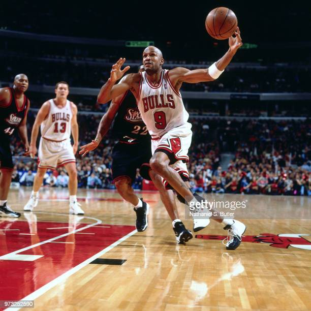 Ron Harper of the Chicago Bulls drives during a game played on November 1 1997 at the First Union Arena in Philadelphia Pennsylvania NOTE TO USER...