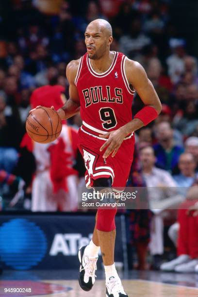 Ron Harper of the Chicago Bulls handles the ball against the Atlanta Hawks on February 22 1996 at the Omni Coliseum in Atlanta Georgia NOTE TO USER...