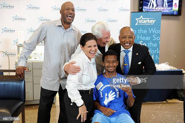 Ron Harper William F Austin and Daymond John attend the Celebrity Hearing Mission With Starkey Hearing Foundation At Yankee Stadium on September 30...
