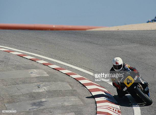 Ron Haslam of Great Britain rides the ElfHonda 500cc Elf5 during the United States motorcycle Grand Prix on 10 April 1988 at the Mazda Raceway Laguna...