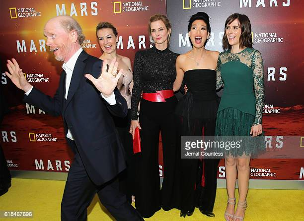 Ron Howard Anamaria Marinca Cosima Shaw Jihae and Clementine Poidatz attend the National Geographic Channel 'MARS' Premiere NYC on October 26 2016 in...