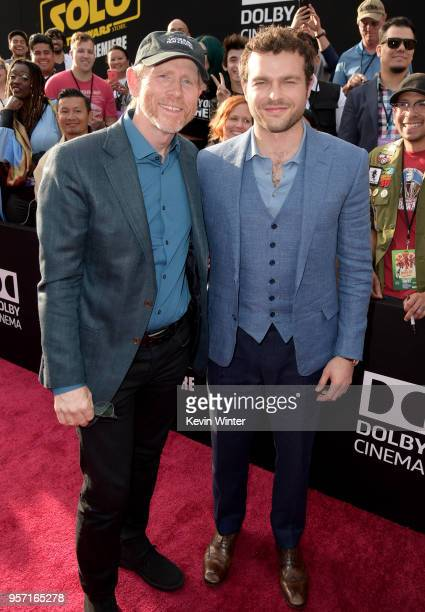 Ron Howard and Alden Ehrenreich attend the premiere of Disney Pictures and Lucasfilm's 'Solo A Star Wars Story' at the El Capitan Theatre on May 10...