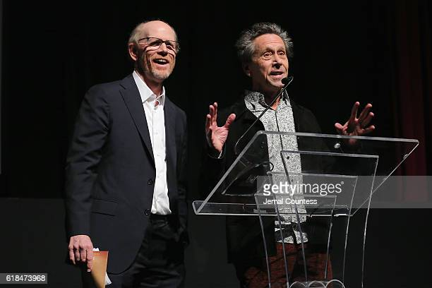 Ron Howard and Brian Grazer speaks at the National Geographic Channel MARS Premiere NYC on October 26 2016 in New York City