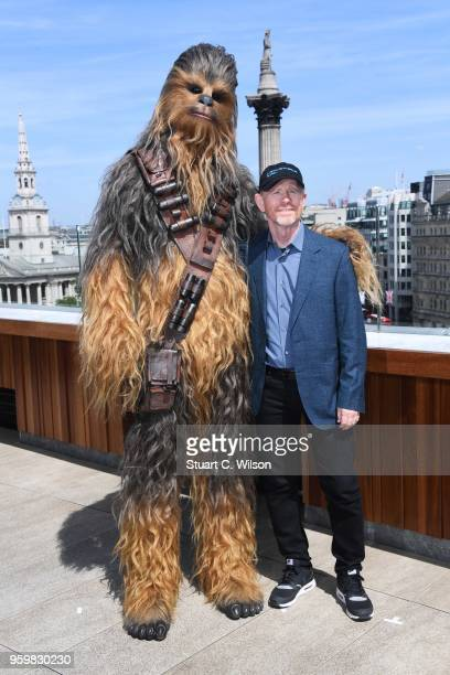 Ron Howard and Chewbacca attend Solo A Star Wars Story photocall on May 18 2018 in London United Kingdom