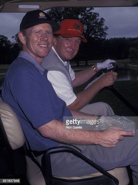 Ron Howard and Donald Trump attend Trump National Golf Opening on July 27 2002 at Briarcliff Manor in Pleasantville New York